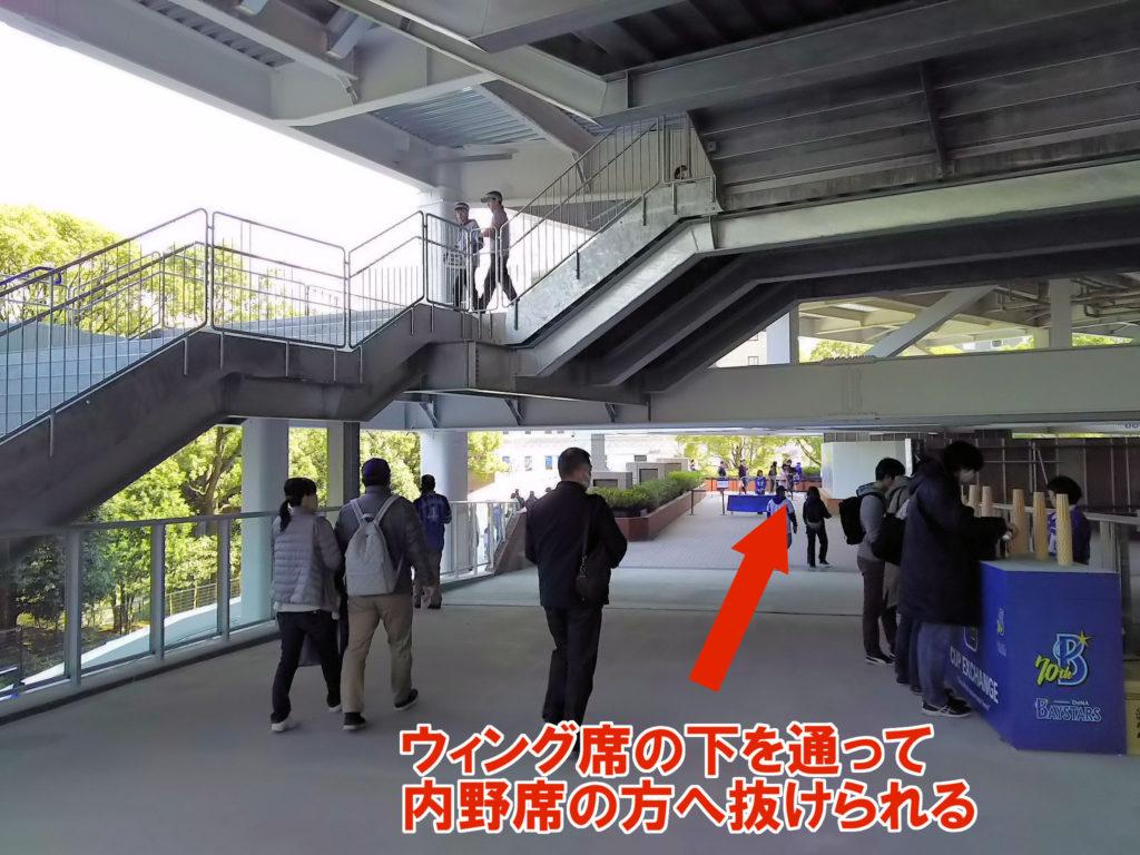 ウィング席の下を通って1ゲートの方へ抜けられます