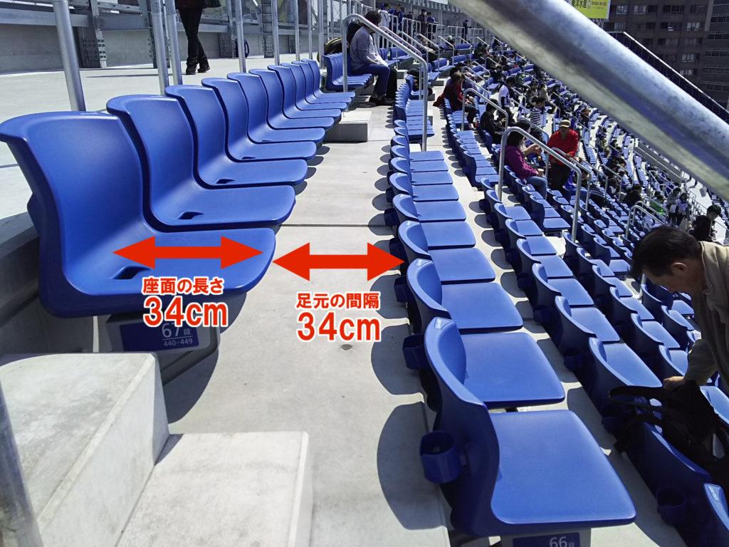 座席のサイズと足元のスペース