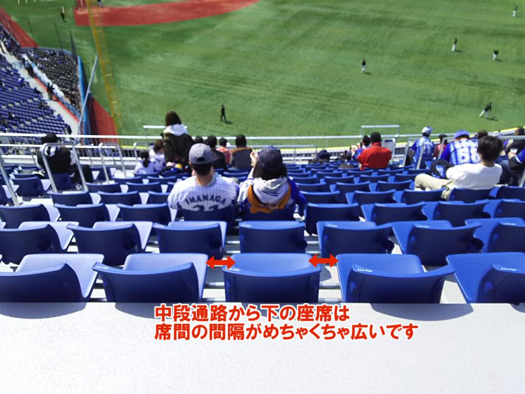 ウィング席中段通路から下の座席は席間の間隔がめちゃくちゃ広いです。