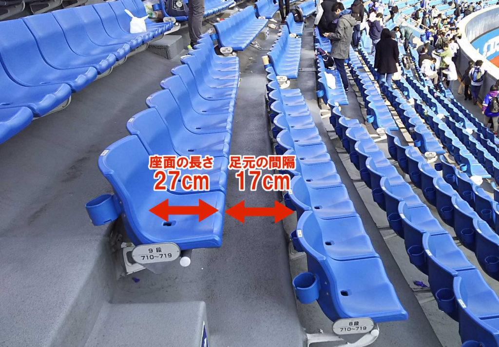 外野席の座席サイズと足元の間隔