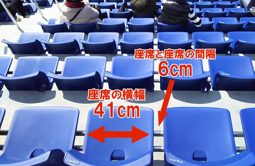 ウィング席の座席の横幅と席と席の間隔