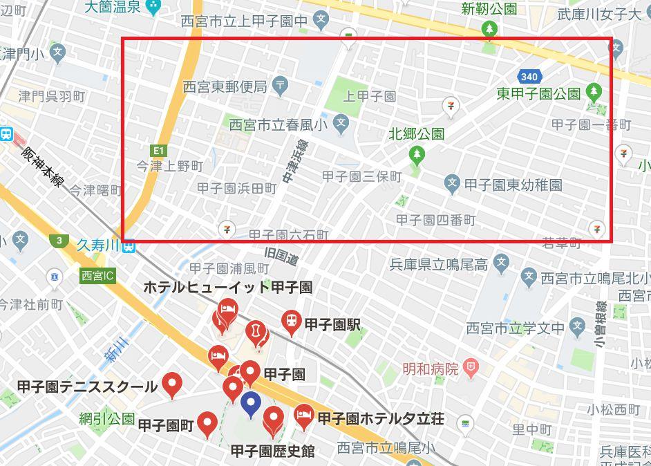 甲子園北側地図