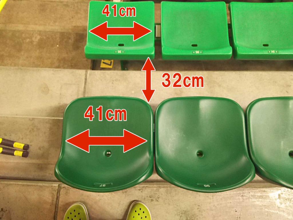 ヤフオクドームの外野席の座席サイズ