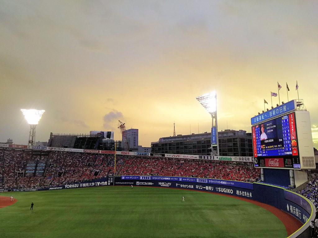 2回表頃になると雨は止み、明るい空が見え始めました。