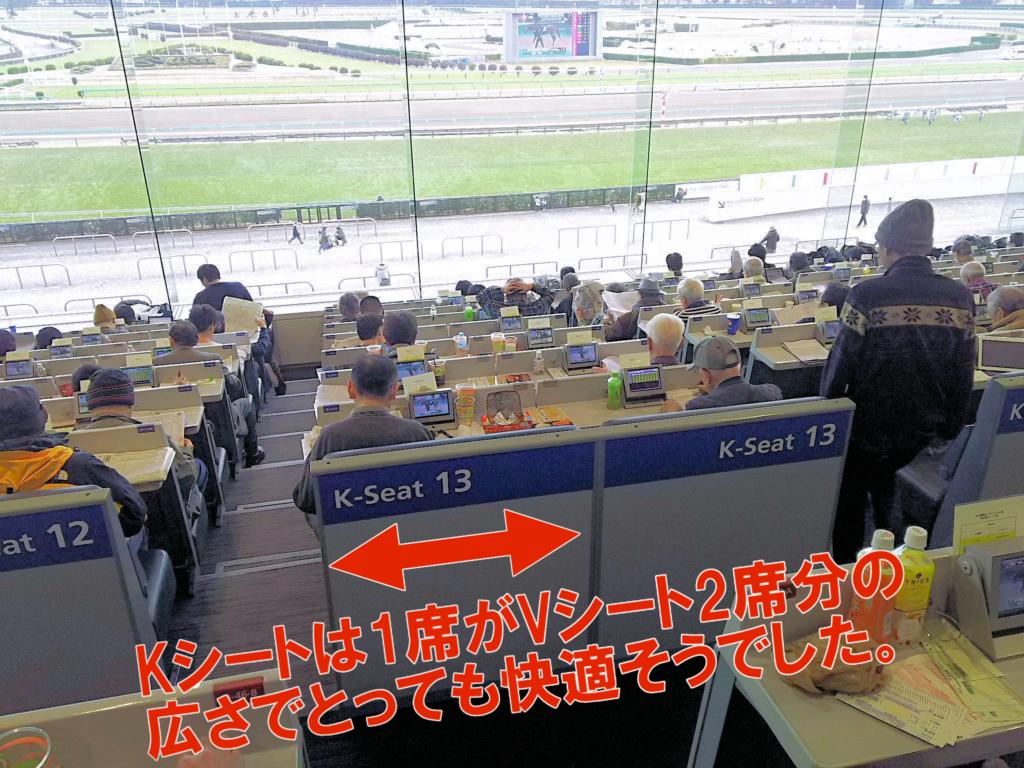 中山競馬場の指定席KシートはVシートの2倍の広さ