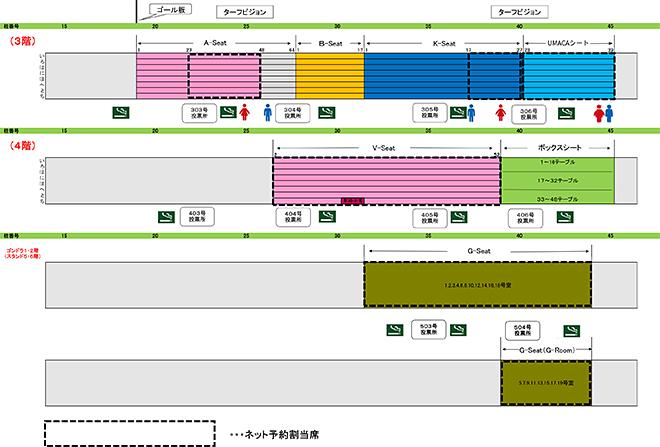 中山競馬場の指定席マップ