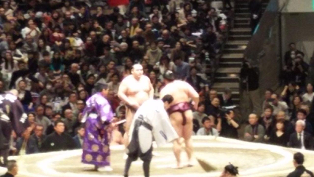 立ち合い前の横綱鶴竜と遠藤