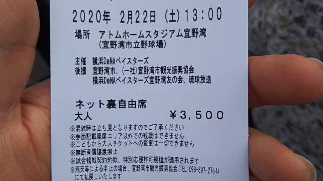 当日券でネット裏自由席のチケットを購入。DeNA対楽天のオープン戦。アトムホームスタジアム宜野湾