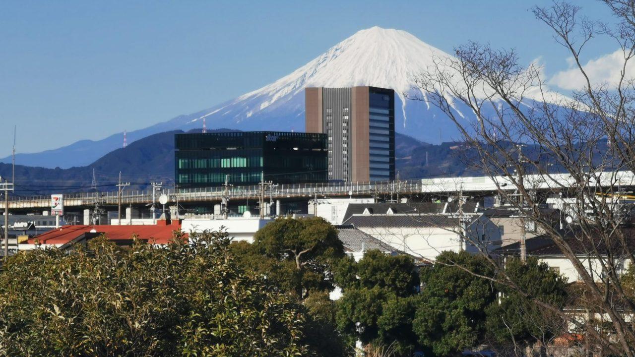スタンド最後部から外を眺めるとめちゃくちゃキレイな富士山が見えます