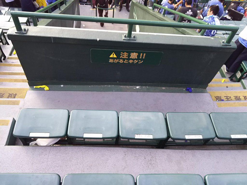 座席位置は42段151で目の前に通路の柵がありました。