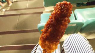 ナゴヤドームさんどら亭のヒレ串カツは味噌がたっぷり染みています
